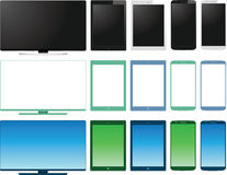 Vector set of lcd tv monitor, tablet and smart pho Stock Images