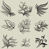 Vector set of leafs design elements Royalty Free Stock Photos