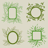 Vector set of leafs frames Royalty Free Stock Photos