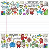 Vector set of learning English language, children's drawing icons in doodle style. Painted, colorful, pictures on a piece of stock illustration
