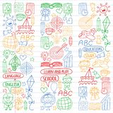 Vector set of learning English language, children`s drawingicons icons in doodle style. Painted, colorful, pictures on a stock illustration