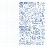 Vector set of learning English language, children\'s drawingicons icons in doodle style. Painted, drawn with a pen, on a sheet of royalty free illustration