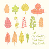 Vector set of leaves in cartoon style Royalty Free Stock Photos