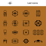 Vector set of LEDS. Icons for light-emitting economical LED lamps. Led forms. Big collection led diodes for bulbs. New Royalty Free Stock Photo