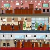 Legal trial concept vector flat poster set. Vector set of legal trial scenes with judge, lawyers questioning witness, security guard, defendant, woman recording Stock Photo