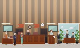Court hearing concept vector flat illustration. Vector set of legal trial scenes with judge, lawyers questioning witness, security guard standing next to Royalty Free Stock Image