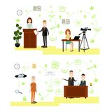 Vector set of law court people symbols, icons in flat style Royalty Free Stock Photo