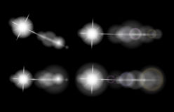 Vector set of lens flares, stars, glowing elements. On black background, eps10 Royalty Free Stock Photography