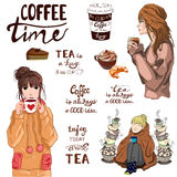 VECTOR set of lettering and cute girls with tea and coffee Royalty Free Stock Images