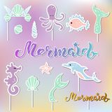 Vector set with lettering Mermaid, Seashell Crown, Tail, Seahorse, octopus. Mermaid symbols as patch, stick cake topper, sticker, drink topper. Props for Stock Photo