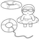 Vector set of life ring. Hand drawn cartoon, doodle illustration royalty free illustration