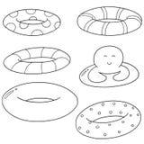 Vector set of life ring. Hand drawn cartoon, doodle illustration vector illustration