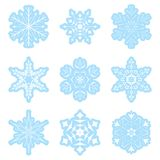 Vector set - light blue snowflakes Royalty Free Stock Photography
