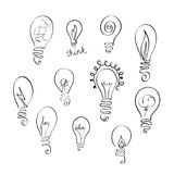 Vector set of light bulb icons with concept of idea. Doodle sign collection. stock illustration