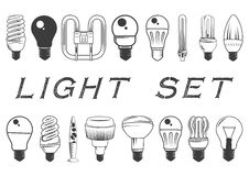 Vector set of light bulbs isolated on white background. Illustration in vintage style. Icons and design elements Royalty Free Stock Photos
