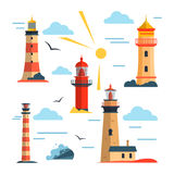 Vector set of lighthouses. Cartoon lighthouse, clouds, sun. Design elements  Royalty Free Stock Photography