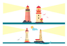 Vector set of lighthouses. Cartoon lighthouse with light beams. Design elements  Royalty Free Stock Image