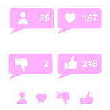 Vector set of like, follow and other social websites icons. Stock Image