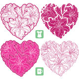 Vector set of lily pattern in the shape of heart Stock Photos