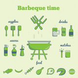 Vector set of line art barbeque icons in minimal style. EPS10.  royalty free illustration