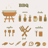 Vector set of line art barbeque icons in minimal style. EPS10 Royalty Free Stock Images