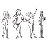 Vector Set of Line Art Characters with Cell Phones Stock Photo