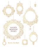 Vector set of line art decor in Eastern style. Royalty Free Stock Photo