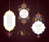 Vector set of line art frames in Eastern style. Royalty Free Stock Photo