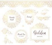 Vector set of line art golden frames in Eastern style.