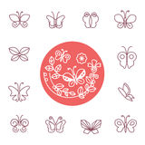 Vector set of line butterfly logos and icons Stock Photography