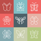 Vector set of line butterfly logos and icons Royalty Free Stock Photography