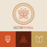 Vector set of line butterfly logos and icons Stock Photo