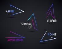 Vector set of line colorful arrows templates. Arrow logo design, web logo, icon, abstract, geometric logo Royalty Free Stock Photos