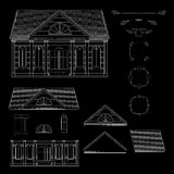 Vector set of  line details retro style house. Royalty Free Stock Photos