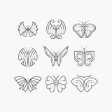 Vector set of line empty butterflies. Stock Image