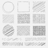 Vector set of line grunge brushes textures. Handmade Vector Illustration Royalty Free Stock Image