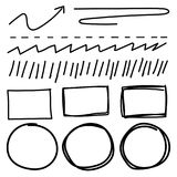Vector set of line grunge brushes textures. Handmade Vector Illustration Royalty Free Stock Photos