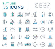 Vector Set Line Icons Beer stock illustration