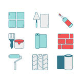 Vector set of line icons for DIY, finishing materials, tools. Stock Photos