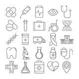 Set of 16 line icons of medical theme. Vector Set of 16 line icons of medical theme vector illustration