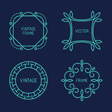 Vector set of line logo templates. Vector set of abstract frames and logo templates in line style - graphic design elements Royalty Free Stock Photo