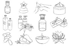 Vector set of line spa icons. Sketch. Black and white Stock Photo
