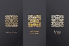 Vector set of linear design elements. Logo design templates and mono line badges for packaging - abstract concepts for luxury products and services - emblems Stock Image