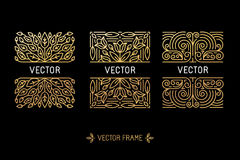 Vector set of linear frames and floral backgrounds with copy spa Stock Photo