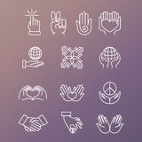 Vector set of linear hand icons and gestures Royalty Free Stock Images