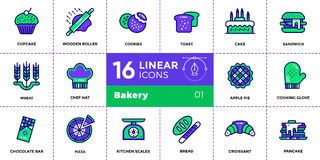 Vector set of linear icons, bakery and cooking. High quality mod. Vector pictogram suitable for print, website and presentation Royalty Free Stock Photography