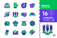 Vector set of linear icons, bakery and cooking. High quality mod. Vector pictogram suitable for print, website and presentation Royalty Free Stock Images