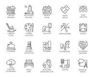 Vector set of 20 linear icons of city infrastructure. Pictogram in linear style for advertising and real estate projects. Designation of public areas. Graphic Stock Image