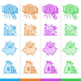 Vector set of linear icons, finance, banking. Suitable for websi Royalty Free Stock Photos