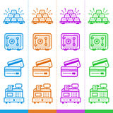 Vector set of linear icons, finance, banking. Suitable for websi Stock Image